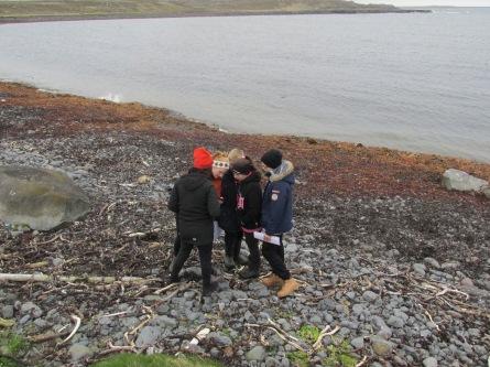Nemendur skoða tjaldshreiður í Bæjarvík með Jónínu, forstöðumanni Rifs